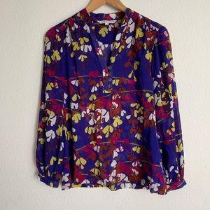 Trina Turk silk blend floral long sleeve blouse
